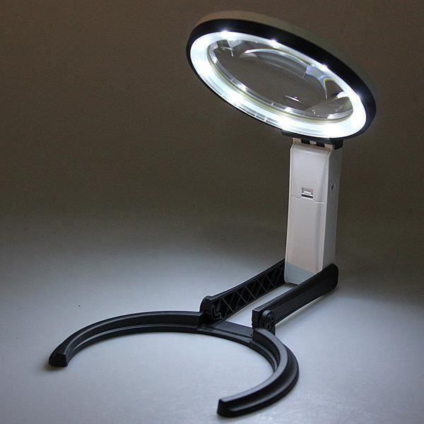 10 LED Lampe Loupe Optique Pliable Grossissement 2x 5x 110-240V PRISE EU Go45426