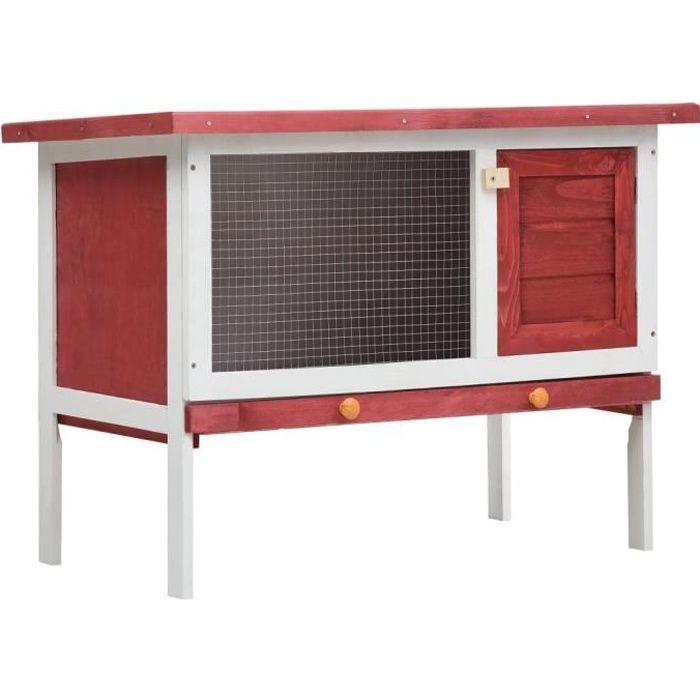 Magnifique-Clapier d'extérieur - Cage Clapier lapin Extérieur Petits animaux Enclos 90 x 45 x 65 cm- 1 niveau Rouge Bois