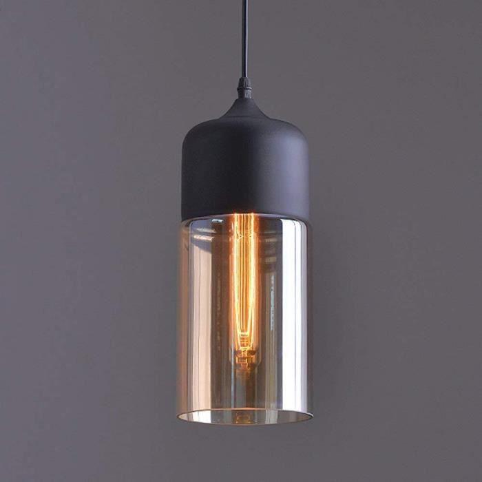 Louvra Suspension Luminaire Industriel Style Vintage Lampe Lustre Plafonnier Retro En Métal Verre Rétro E27 Edison Culot Pour