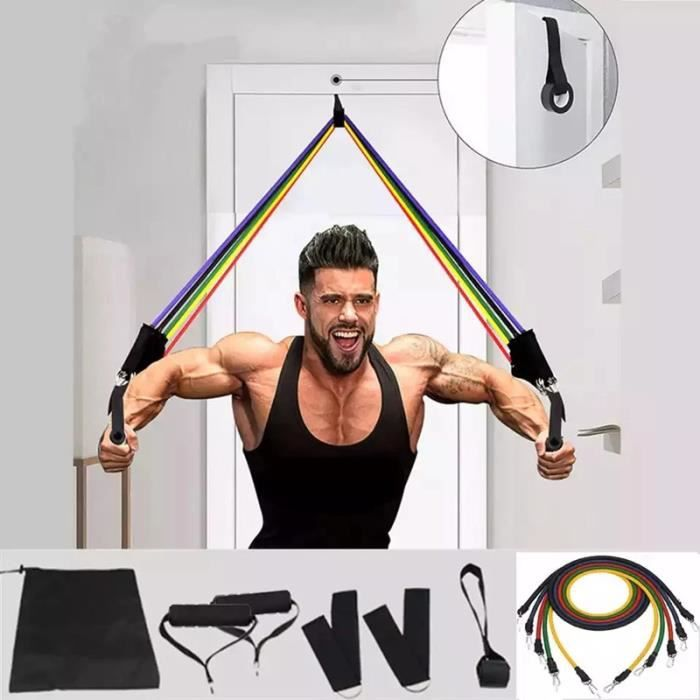 11 pièces de bande de résistance de yoga en tube de latex, bande de fitness, bande élastique, équipement de fitness, musculation