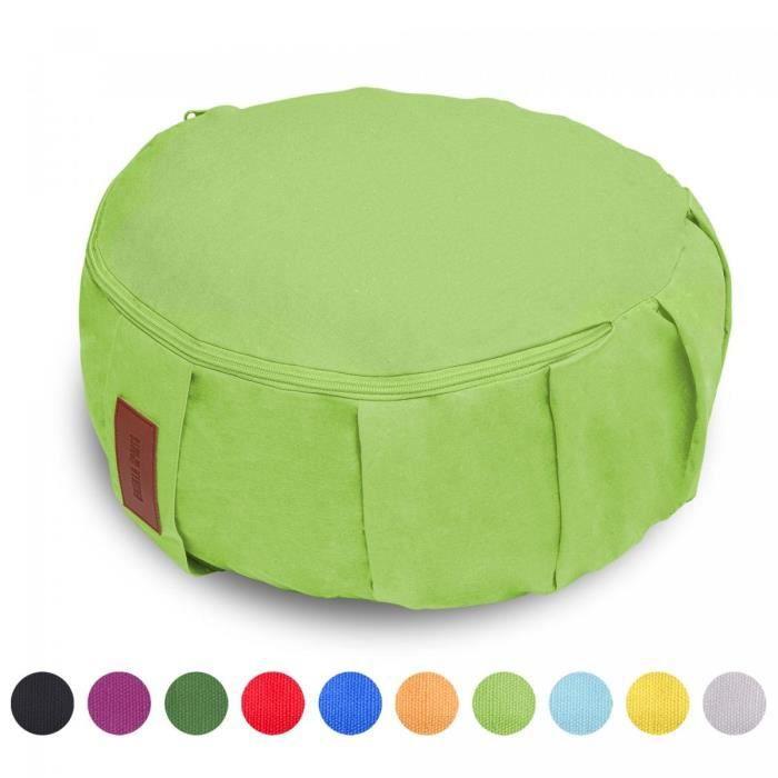 GORILLA SPORTS coussin de méditation vert-citron - Hauteur d'assise 18 cm - coussin de yoga avec rembourrage en balles d'épeautre -