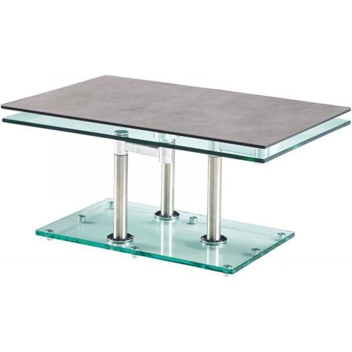 Table basse MATCH CERAMIQUE CIMENT 2 plateaux pivotants en verre piétement chrome gris Ceramique Inside75