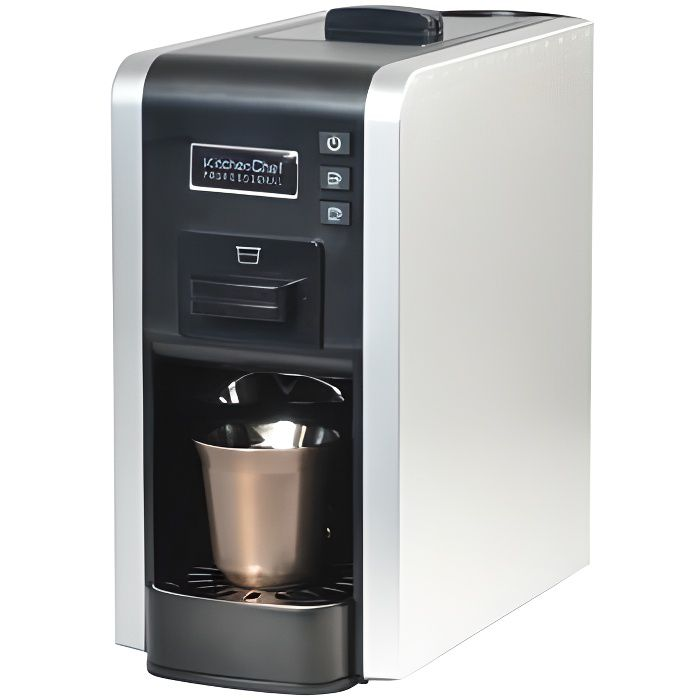 KitchenChef MULTIGUSTO PRO, Autonome, Espresso maker, 1 L, Capsule de café, 1100 W, Noir, Acier inoxydable