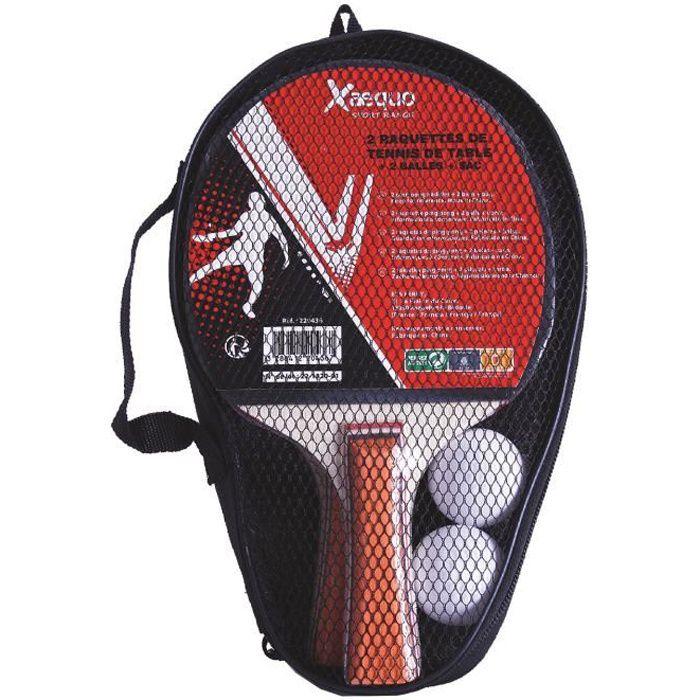 Pack de 2 raquettes de ping pong + 2 balles avec pochette xaequo
