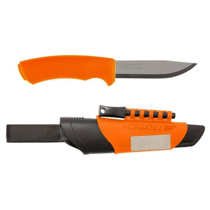 Couteau Survival Bushcraft Morakniv avec démarreur de feu et affûteur