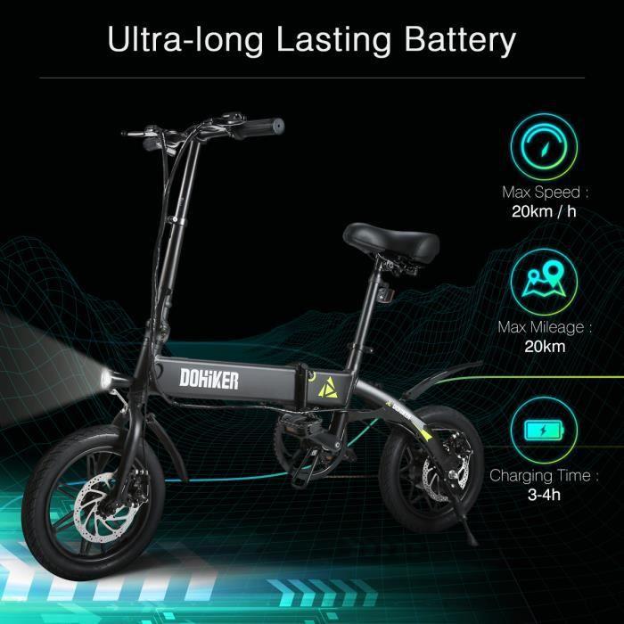 Vélo assistance électrique Vélo Electrique DOHIKER Cyclomoteur E-Scooter 270W VTT adulte Pliant LED Trois modes de conduite - Noir