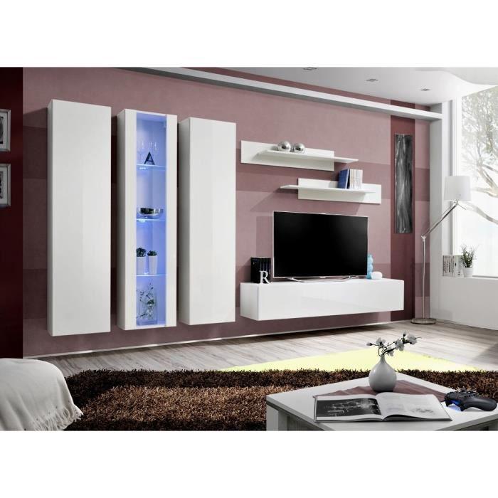 Meuble TV FLY C4 design, coloris blanc brillant. Meuble suspendu moderne et tendance pour votre salon. 40 Blanc