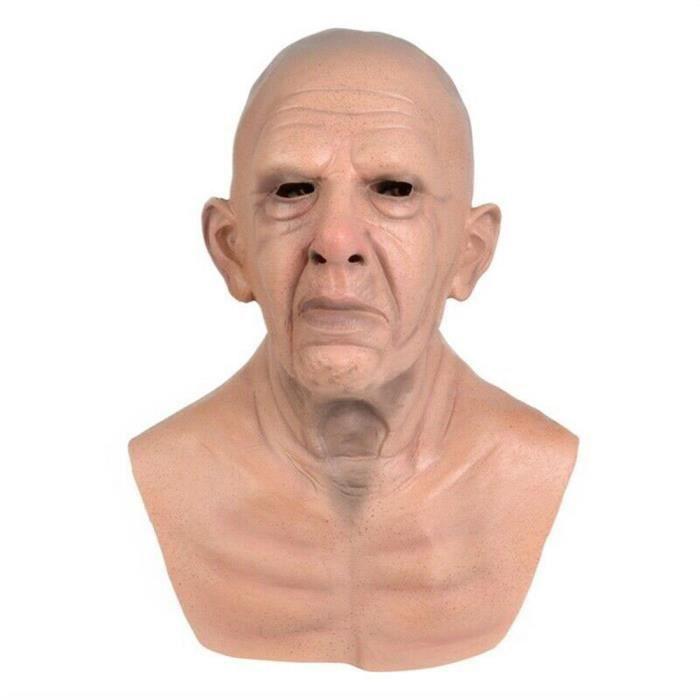Halloween vieil homme masque latex Halloween costume réaliste accessoires de fête masque coiffe -- Vieil homme