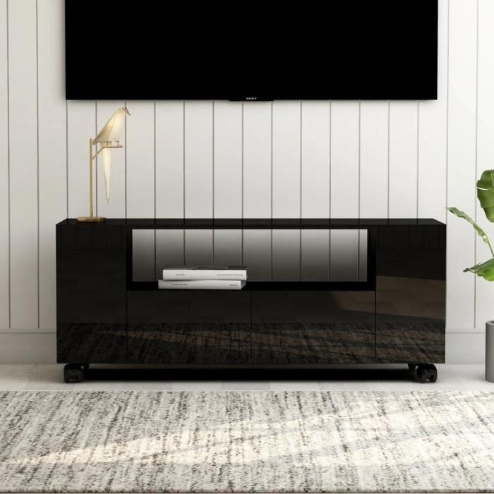 Meuble TV Noir brillant 120 x 35 x 43 cm Aggloméré-GUA
