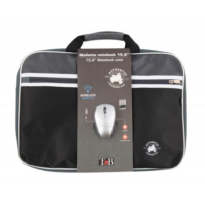 T'NB Mallette PC + souris optique sans fil Authentic - 15,6'' - Gris et Noir