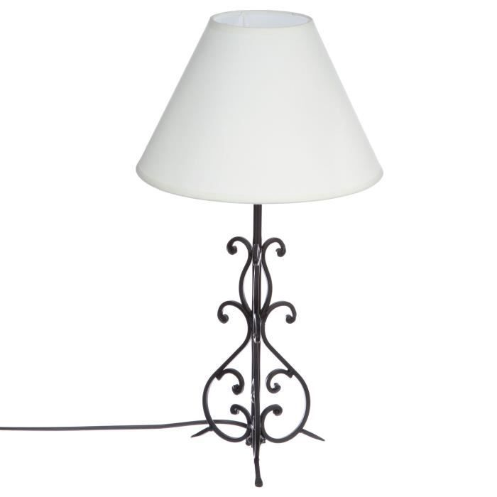 lampe pied arabesque m tal ivoire achat vente. Black Bedroom Furniture Sets. Home Design Ideas