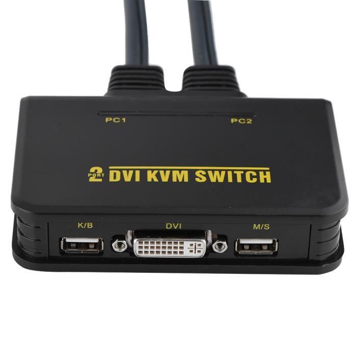 COMMUTATEUR KVM Commutateur KVM DVI USB à 2 ports avec câble pour
