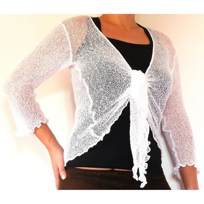 bolero blanc gilet cache coeur cardigan pull femme taille unique shrug white achat vente. Black Bedroom Furniture Sets. Home Design Ideas