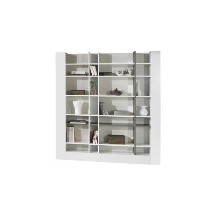 Etag re design laque blanc et gris brillants achat vente meuble tag re e - Etagere blanc laque ikea ...