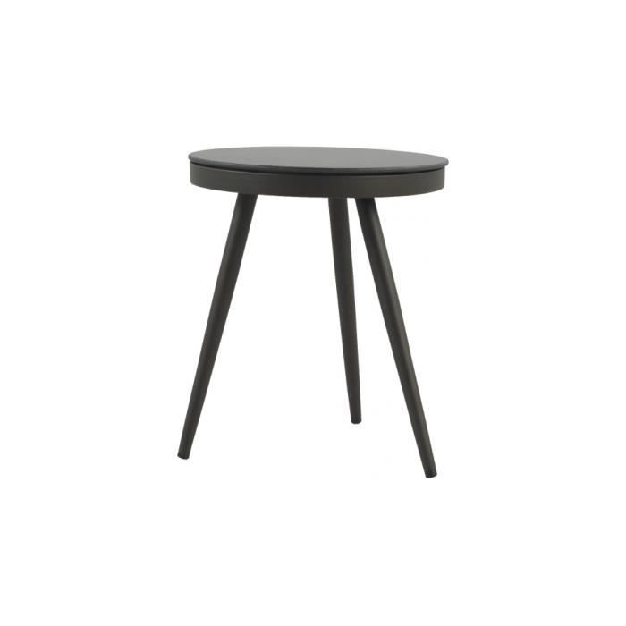 Table d 39 appoint ronde aluminium gris plateau verre tremp for Table exterieur 50x50