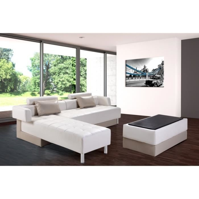 canap d 39 angle winch cuir synderme blanc taupe achat. Black Bedroom Furniture Sets. Home Design Ideas
