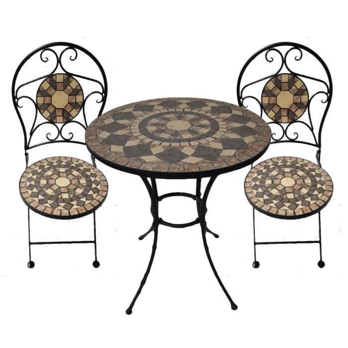ensemble table ronde et chaises sultana achat vente salon de jardin ensemble table ronde et. Black Bedroom Furniture Sets. Home Design Ideas