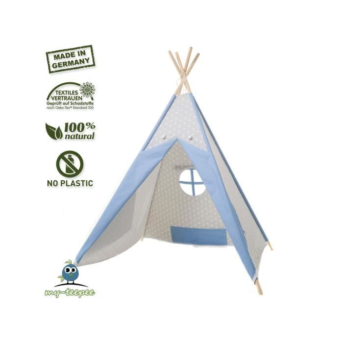 my teepee tente tipi oeko tex 100 bleu gris achat. Black Bedroom Furniture Sets. Home Design Ideas