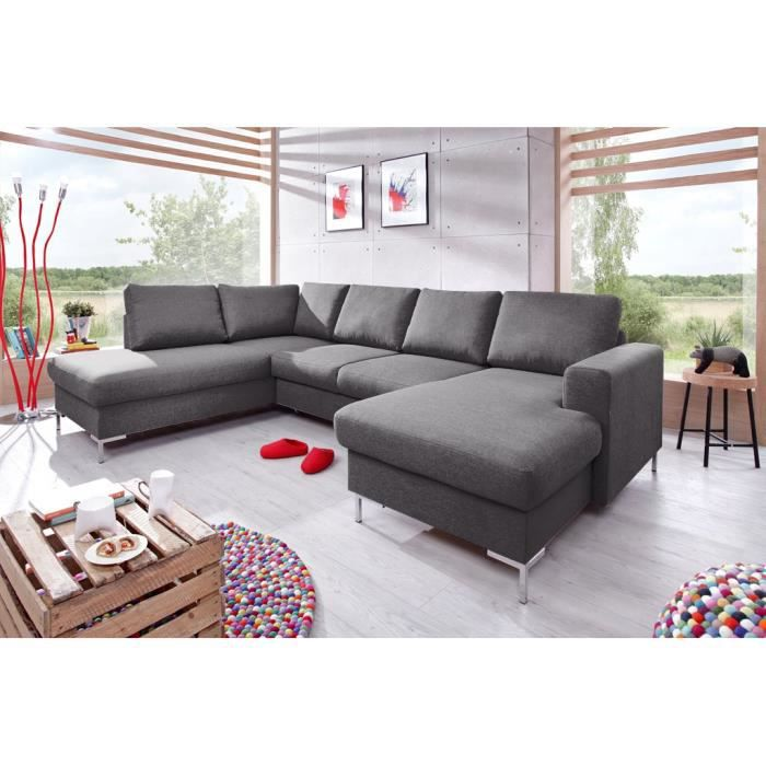 canap lilly panoramique convertible coffre gris anthracite achat vente canap sofa. Black Bedroom Furniture Sets. Home Design Ideas