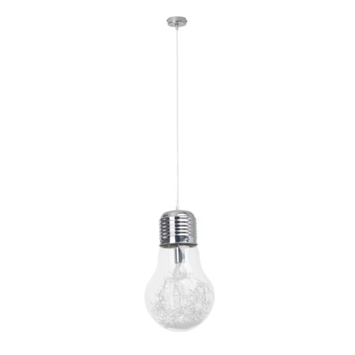 bulb suspension fil forme ampoule 35cm en chrome et verre transparent achat vente bulb. Black Bedroom Furniture Sets. Home Design Ideas