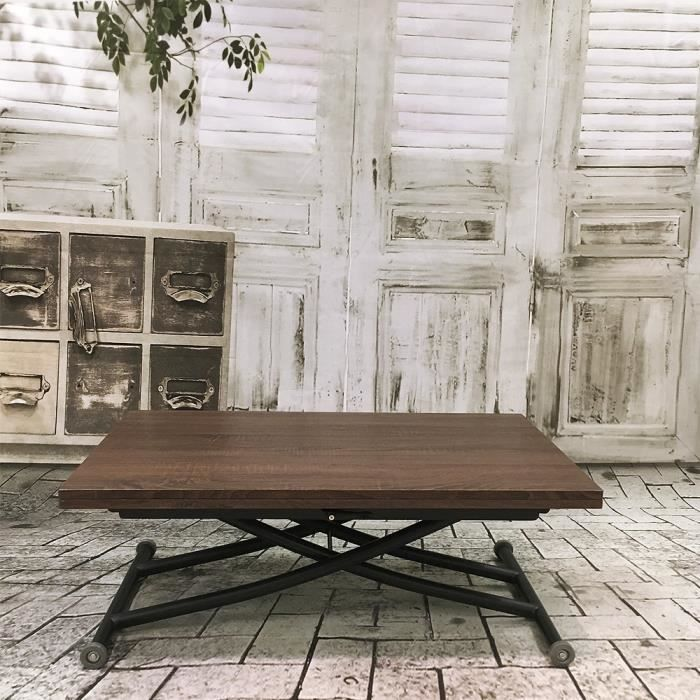 table relevable ilona noir et bois noyer marron achat vente table basse table relevable. Black Bedroom Furniture Sets. Home Design Ideas
