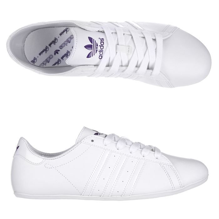 adidas baskets campus round femme femme blanc et violine achat vente adidas campus round. Black Bedroom Furniture Sets. Home Design Ideas
