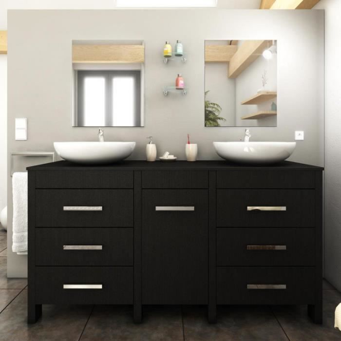 paris prix ensemble meuble salle de bain roma 150cm noir achat vente salle de bain. Black Bedroom Furniture Sets. Home Design Ideas