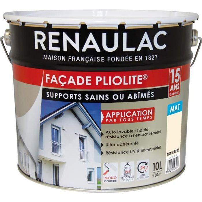 Renaulac Peinture De Façade Pliolite Haute Résistance 10 L Ton Pierre