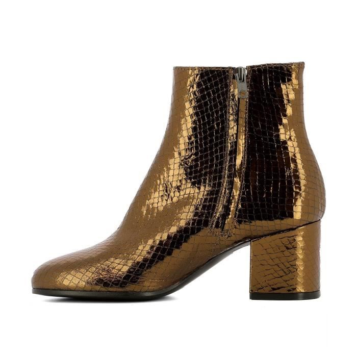 PARIS TEXAS FEMME PX75SNAKEBRONZO OR CUIR BOTTINES