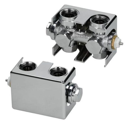 chrome universel ECD Germany Kit de connexion central avec thermostat pour radiateurs