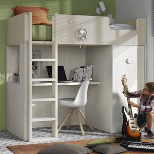 LIT MEZZANINE Meubles Ros - Lit mezzanine avec bureau et armoire