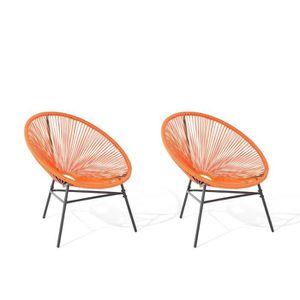 FAUTEUIL JARDIN  Lot de 2 chaises de jardin orange Acapulco