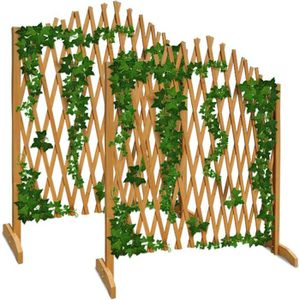 TREILLE - TREILLIS 2x Treillage Jardin Brun 180x107cm Support Plantes