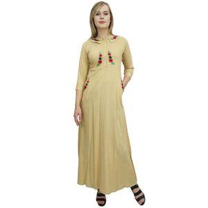 ROBE floral féminin bimba brodé beige 3-4 maxi robe à m
