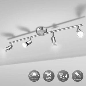 PLAFONNIER Wowatt Plafonnier 4 Spots LED Ajustables avec Ampo