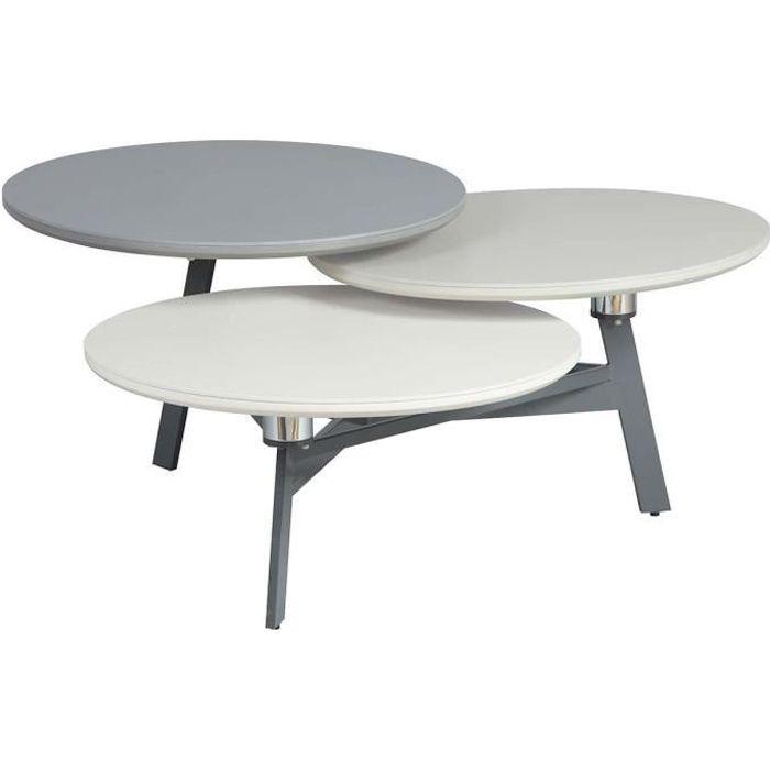Gurvan - Table Basse 3 Plateaux Pivotants Excentrés