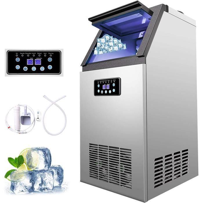 Machine à Glace avec Production de 60kg par 24h, Machine à Glaçons Électronique 300W-480W 4X9/36 pcs pour Comptoir de Bar et Maison