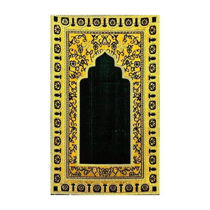 Générique Super Doux Mouse Extra Epais et Confortable Tapis de Prière Musulman en Bleu Fonce/Marron