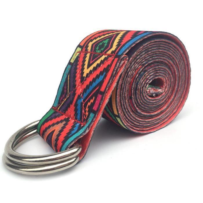 183CM anneau réglable yoga stretch sangle de remise en forme ceinture rouge