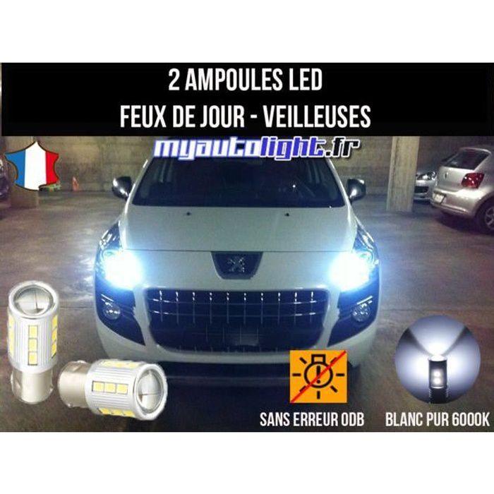 Pack feux de jour veilleuses led blanc xenon pour Peugeot 3008