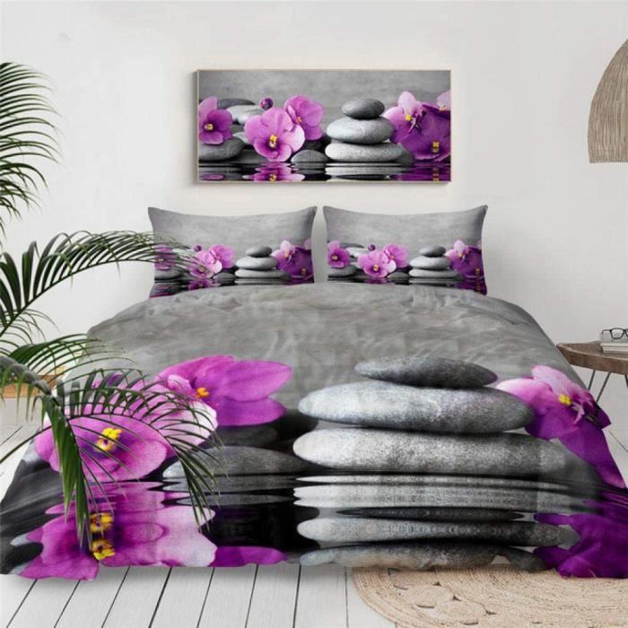 HXFJL Parure de lit 3D avec housse de couette et housse de couette Motif jardin zen 220 x 240 cm423