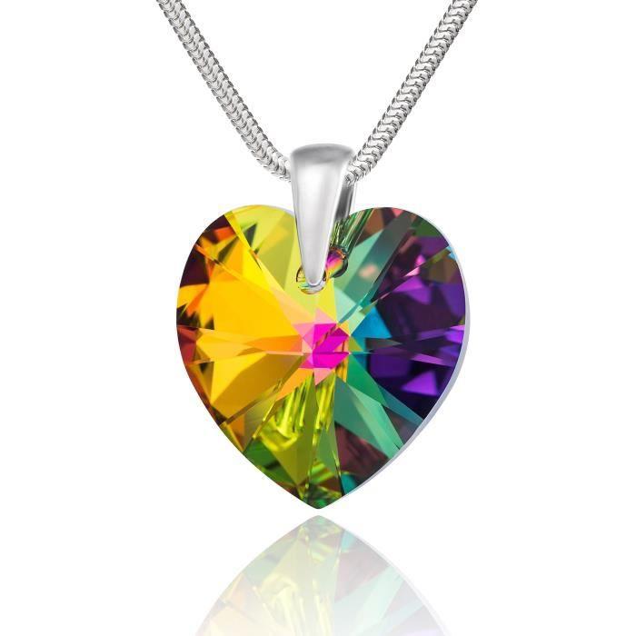 LillyMarie Femme Chaîne Argent 925 Swarovski Elements originaux Cœur Multicolore Longueur réglable Coffret cadeau