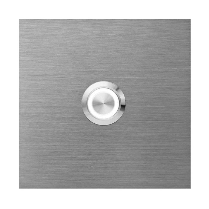 MOCAVI Ring 515 Plaque de sonnette en acier inoxydable, carrée (8,5 cm), bouton rond avec anneau LED (blanc)