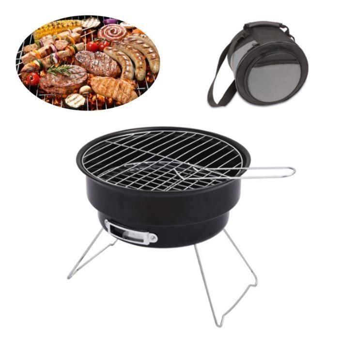 Mini Barbecue Grill à Charbon Pliable Avec Sac de Transport de Voyage En Plein Air Patio Poêle