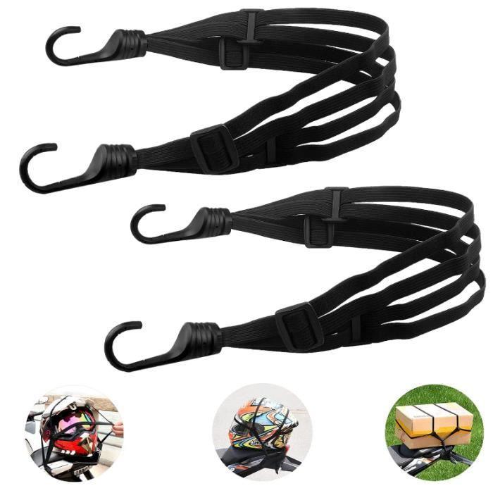2 sangles bagages moto et vélo avec double crochets, porte-bagages élastiques avec tendeurs réglables,