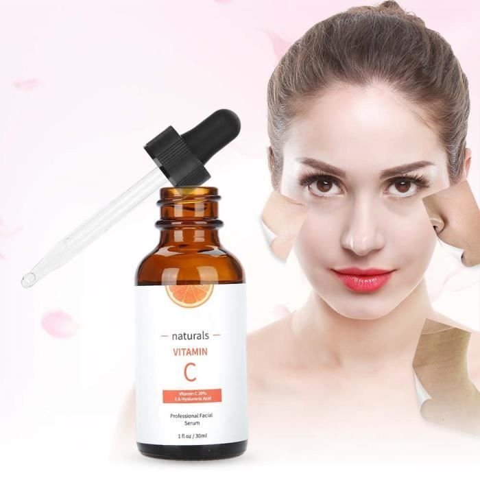 Vitamine C Face Rétinol Serum Visage - acide hyaluronique pour cicatrices Pigmentation Cernes Taches Rides Anti-vieillissement (30