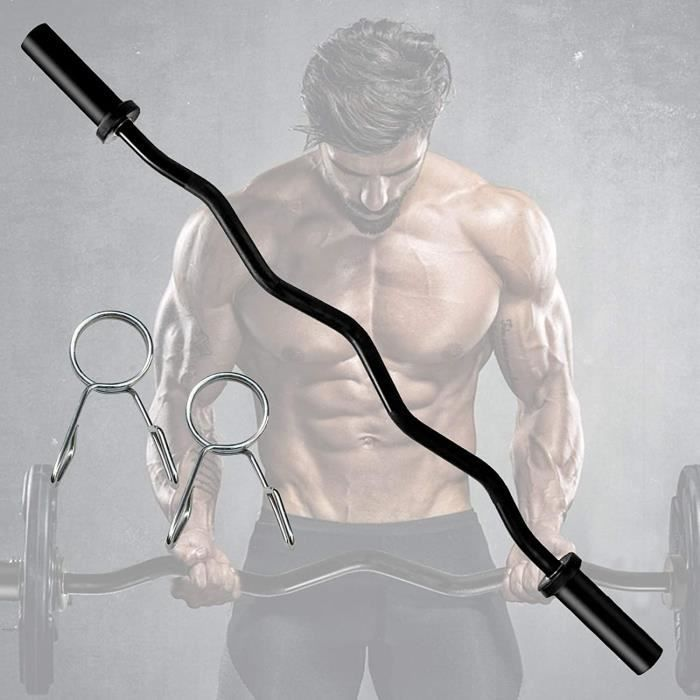 BANC DE MUSCULATION 47 in Professionnelle Curl Bar,Barre Curl,Chrom&eacutee et avec Molet&eacutee Barre de Musculation Barre Z895