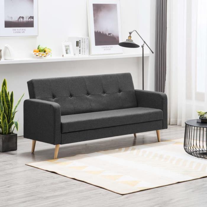 Canapé à 3 places Simili-cuir Noir et gris foncé #247169 HB045