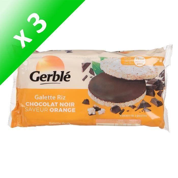 [LOT DE 3] GERBLE Galettes de riz au chocolat orange 130,4g