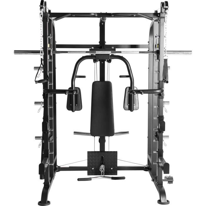 Smith machine multifonctions étendue Gorilla Sports Noir Gris